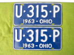 Nice, Matching Pr. 1963 Ohio License Plates