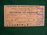 1936 Baltimore & Annapolis Railroad Ticket