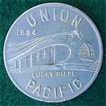 Click here to enlarge image and see more about item dcar47: 1934 Union Pacific Aluminum Coin