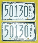 1960 Pr. of Pennsylvania Boat License Plates