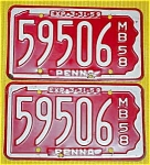 1958 Pr. of Pennsylvania Boat License Plates