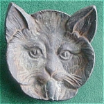 Early Cast Iron Cat Face Ashtray