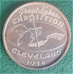 Click to view larger image of '36 Great Lakes Cleveland Expo Penny Medallio (Image1)