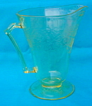 Click here to enlarge image and see more about item ddep12: Yellow Florentine Depression Glass Pitcher