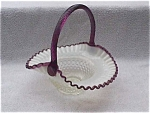 Click here to enlarge image and see more about item deg10: Lg. Fenton Hobnail Basket w/Amethyst Handle