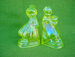 Vaseline Glass Dutch Boy & Girl Bookends