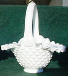 Fenton Milk Glass Handled Basket