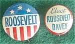 Click here to enlarge image and see more about item dpol10: Pr. of Roosevelt Presidential Pinbacks