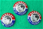 Click here to enlarge image and see more about item dpol13: (3) Kennedy for President Campaign Pinbacks