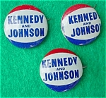Click here to enlarge image and see more about item dpol18: (3) Kennedy/Johnson Presidential Pinbacks