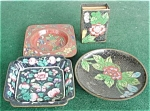 Click here to enlarge image and see more about item dst14: Cloisonne Trays & Match Holder