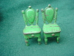 Pr. of Vintage Cast Iron Doll Furn. Chairs