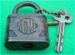 Click to view larger image of Old Acme Padlock w/Key (Image1)