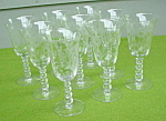 (8) Imperial Candlewick Floral Etch Goblets