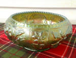 Green Iridescent Floral Imperial Glass Bowl