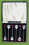 6 English Demitasse Spoons w/Box