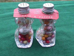 Click here to enlarge image and see more about item k4: 40's Fairy Pups S&P Candy Containers w/Label
