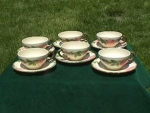 Click here to enlarge image and see more about item p24: (6) Franciscan Desert Rose Tea Cups & Saucers