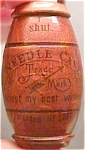 Click here to enlarge image and see more about item sew6: Early German Asbro Wood Barrel Needle Case