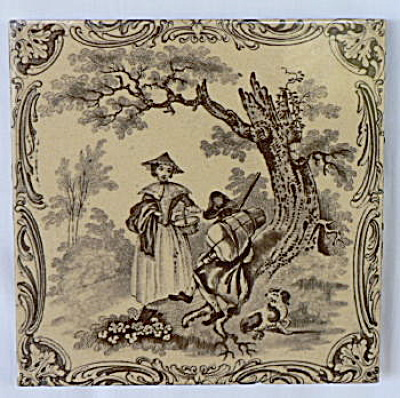 Watteau Subjects Antique Tile - Man Woman and Dog (Image1)
