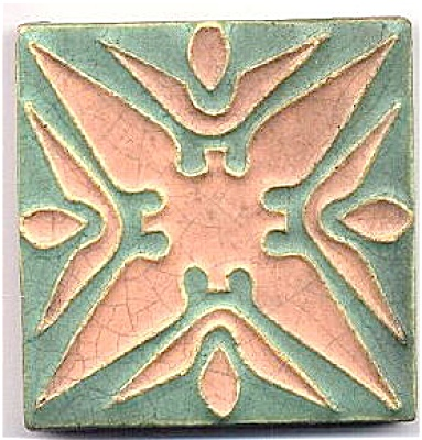 Wheatley Pottery salmon/green tile ca 1910 (Image1)