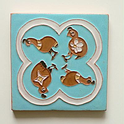 Gila Pottery Tile Mimbres Quails (Image1)
