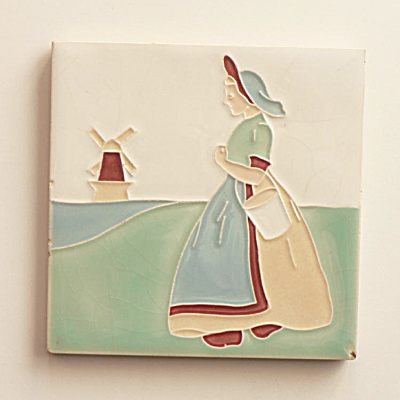 American Encaustic Tile Dutch Women Carrying a Bucket  (Image1)