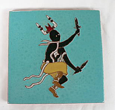 Gila Pottery Mescalero Apache Crown Dancer Tile (Image1)