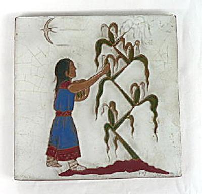 Gila Pottery Native American Corn Girl Tile (Image1)