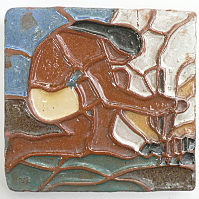 Moravian Indian Making Fire Tile - Left Side (Image1)