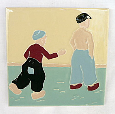 American Encaustic Tile With Two Boys