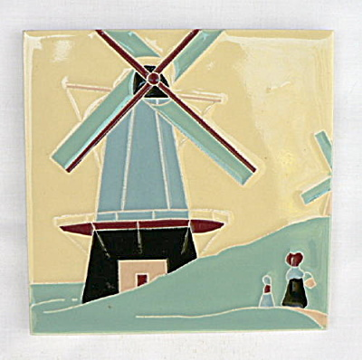 American Encaustic Tile with Windmill Scene (Image1)