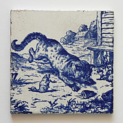 Cat Pouncing on Duck - Victorian series tile (Image1)