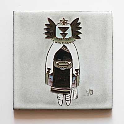 Crow Bride Kachina Tile by Gila Pottery and White Bear (Image1)