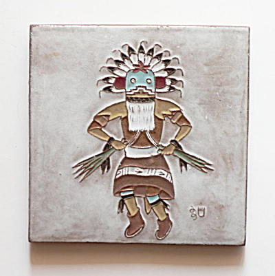 Broadface Kachina Tile by Gila Pottery and White Bear  (Image1)