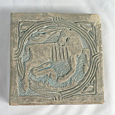 Prancing Deer Tile by Batchelder Los Angeles California (Image1)