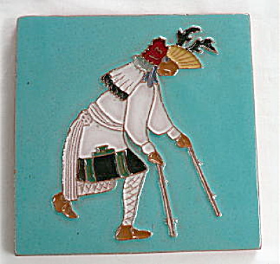 Gila Pottery Native American Antelope Dancer Tile (Image1)