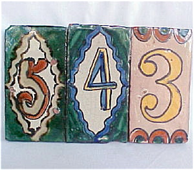 Mexican House Number Tiles - set of 3 (Image1)