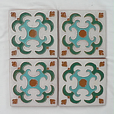 Set of 4 Gila / Desert House Mimbres Tiles (Image1)
