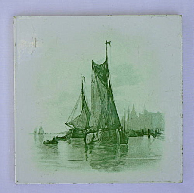 Green Transferware Ship Tile (Image1)