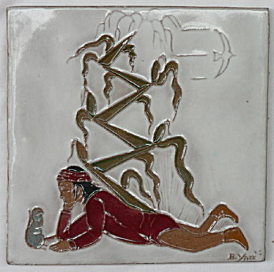 Gila Pottery Tile Man, Groundhog & Corn (Image1)