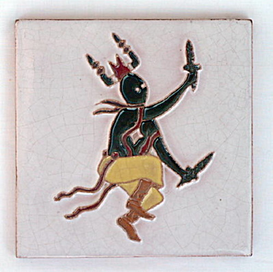 McKusick Gila Pottery Tile - Native American Dancer (Image1)