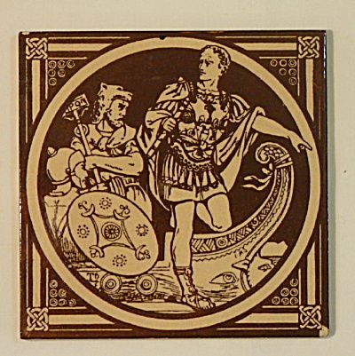 Landing of the Romans – English History Antique Tile (Image1)
