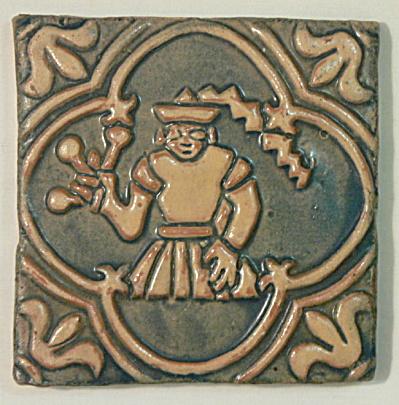 Vintage Moravian Pottery Tile - Virgo (Image1)