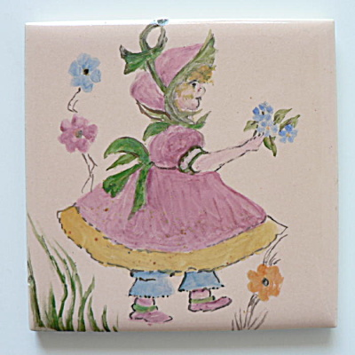 Hand Painted Flower Girl Tile by Mosaic  (Image1)