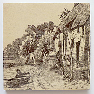 Antique Mintons Scenic Tile Man in Boat (Image1)