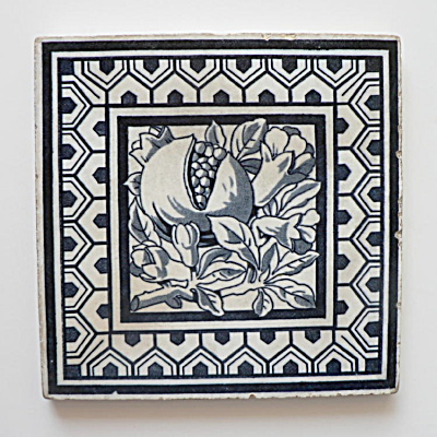 Antique Blue & White Tile of a Pomegranate (Image1)