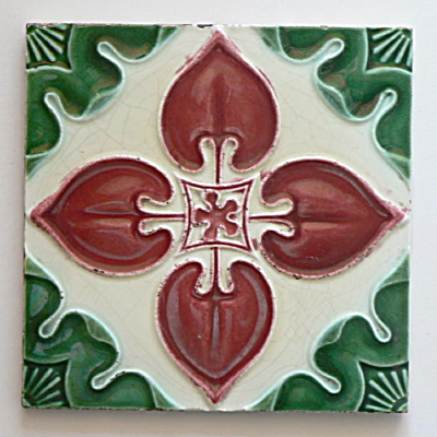 Antique Tile Red & Green Floral #1   (Image1)