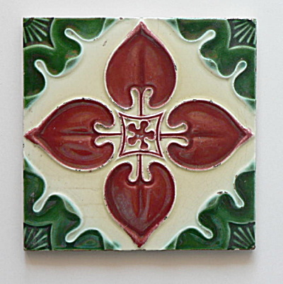 Antique Tile Red & Green Floral #2   (Image1)