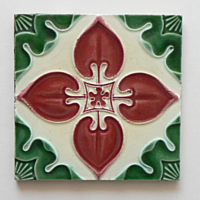 Antique Tile Red & Green Floral #3   (Image1)